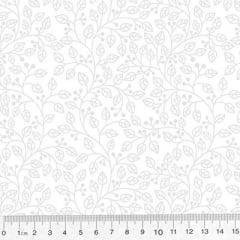 Tecido Tricoline Branco & Branco - Ramos - 100% Algodão - Largura 1,50m