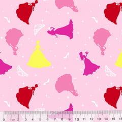 Tecido Tricoline Cinderela - A Princesa - Fundo Rosa Claro (Largura: 1,50 m)