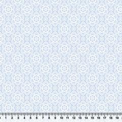 Tecido Tricoline Coleção Composê Ideal Azul Claro - Flores - 100% Algodão - Largura 1,50m
