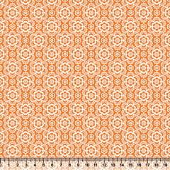 Tecido Tricoline Coleção Composê Ideal Laranja - Flores - 100% Algodão - Largura 1,50m