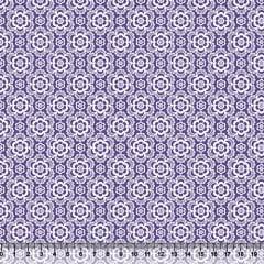 Tecido Tricoline Coleção Composê Ideal Roxo - Flores - 100% Algodão - Largura 1,50m