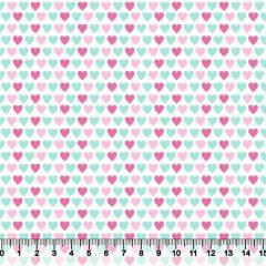 Tecido Tricoline Corações Coloridos - Verde e Rosa - 100% Algodão - Largura 1,50m