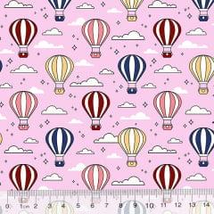 Tecido Tricoline Des. Balões No Céu - Rosa Claro - 100% Algodão - Largura 1,50m