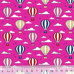 Tecido Tricoline Des. Balões No Céu - Rosa Pink - 100% Algodão - Largura 1,50m