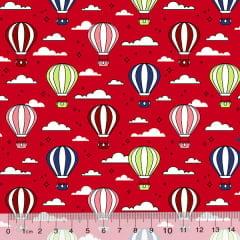 Tecido Tricoline Des. Balões No Céu - Vermelho - 100% Algodão - Largura 1,50m