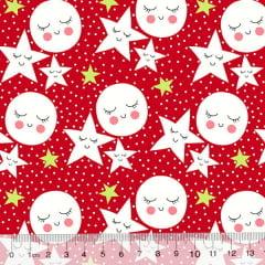 Tecido Tricoline Des. Estrelas e Luas Contentes - Vermelho - 100% Algodão - Largura 1,50m