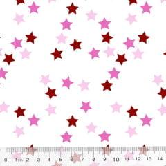 Tecido Tricoline Des. Estrelinhas Coloridas - Rosa Claro - 100% Algodão - Largura 1,50m