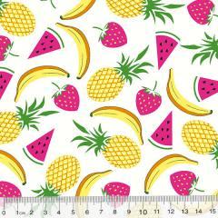 Tecido Tricoline Des. Frutas Mix - Branco - 100% Algodão - Largura 1,50m