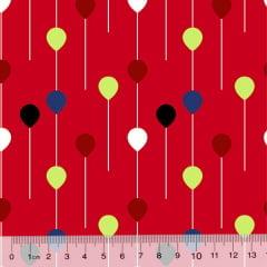 Tecido Tricoline Des. Pequenos Balões - Vermelho - 100% Algodão - Largura 1,50m