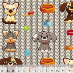 Tecido Tricoline Digital Meus Pequenos Pets - 100% Algodão - Largura 1,50m