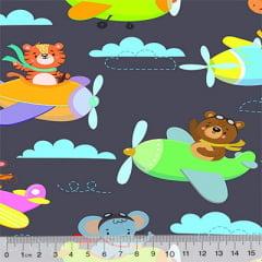 Tecido Tricoline Digital Pequenos Aviadores - 100% Algodão - Largura 1,50m
