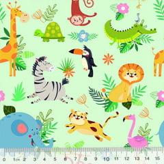 Tecido Tricoline Digital Safari Colorido - 100% Algodão - Largura 1,50m