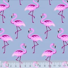Tecido Tricoline Flamingos Elegância - Azul Candy