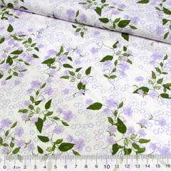 Tecido Tricoline Flor e Folhas - Lilás