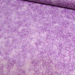 Tecido Tricoline Floral - Liberty Manchado - Lilás