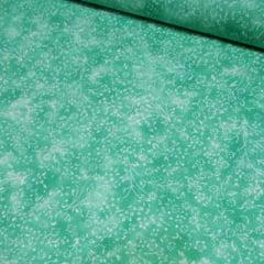 Tecido Tricoline Floral - Liberty Manchado - Verde Ocean