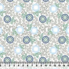 Tecido Tricoline Floral Indiana - Fundo Branco - Azul