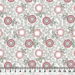 Tecido Tricoline Floral Indiana - Fundo Branco - Rosê