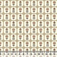 Tecido Tricoline Floral Janelinha - Fundo Bege Escuro - 100% Algodão - Largura 1,50m