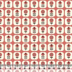 Tecido Tricoline Floral Janelinha - Fundo Coral - 100% Algodão - Largura 1,50m