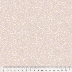 Tecido Tricoline Floral - Raminhos Fundo Bege c/ Branco (Largura: 1,50 m)