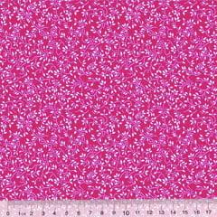 Tecido Tricoline Floral - Raminhos Fundo Rosa Pink c/ Branco (Largura: 1,50 m)