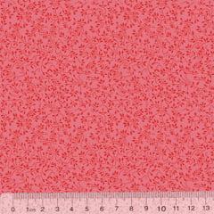 Tricoline Floral - Raminhos Fundo Rosê Tons