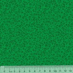 Tecido Tricoline Floral Raminhos - Fundo Verde Tons - 100% Algodão - Largura 1,50m