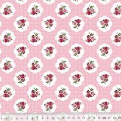 Tricoline Floral Ruby Poá - Rosa