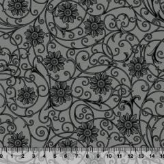 Tecido Tricoline Floral Soul - Preto - 100% Algodão - Largura 1,50m