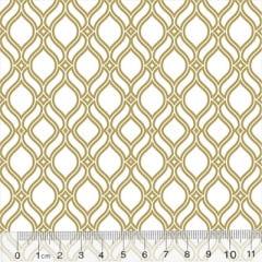 Tecido Tricoline Formas Grid - Branco c/ Dourado