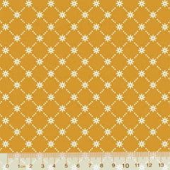 Tecido Tricoline Garden Unity - Mini Flor - Amarelo Mostarda (Largura: 1,50 m)
