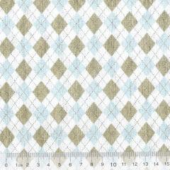Tecido Tricoline Geométricos Losangos Modernos - Azul e Cinza