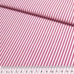 Tecido Tricoline Fio-Tinto Listras M - Rosa Pink - 100% Algodão - Largura 1,50m