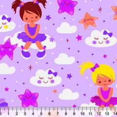 Tricoline Meninas e Estrelas - Lilás