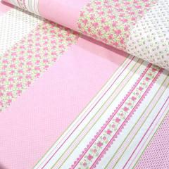 Tecido Tricoline Mista Barras Patch Nuance - Rosa - 90% Algodão 10% Poliéster - Largura 1,50m