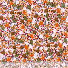 Tecido Tricoline Mista Floral Sochi - Laranja - 90% Algodão 10% Poliéster - Largura 1,50m