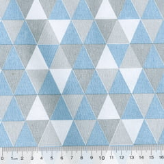 Tecido Tricoline Mista Geométricos - Azul Claro - 90% Algodão 10% Poliéster - Largura 1,50m
