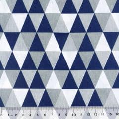 Tecido Tricoline Mista Geométricos - Azul Marinho - 90% Algodão 10% Poliéster - Largura 1,50m