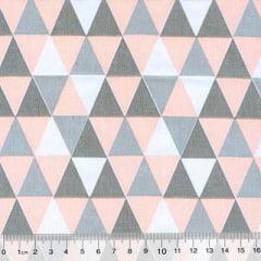 Tecido Tricoline Mista Geométricos - Rosê - 90% Algodão 10% Poliéster - Largura 1,50m