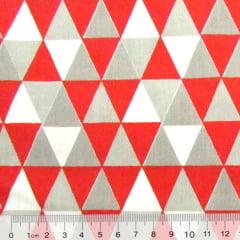 Tricoline Mista Geométricos - Vermelho - 90% Algodão 10% Poliéster - Largura 1,50m