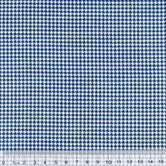 Tecido Tricoline Mista Mini Pied Poule - Azul Marinho - 90% Algodão 10% Poliéster - Largura 1,50m
