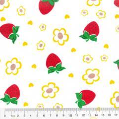 Tecido Tricoline Mista Morangos e Flores - Com Amarelo - 90% Algodão 10% Poliéster - Largura 1,50m