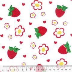 Tecido Tricoline Mista Morangos e Flores - Com Vermelho - 90% Algodão 10% Poliéster - Largura 1,50m