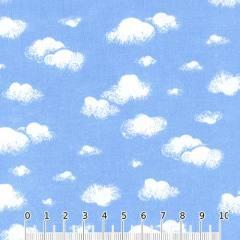 Tecido Tricoline Mista Nuvens de Algodão - Azul - 90% Algodão 10% Poliéster - Largura 1,50m