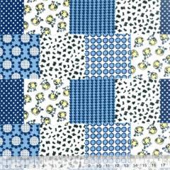 Tecido Tricoline Mista Patch Milk - Azul - 90% Algodão 10% Poliéster - Largura 1,50m