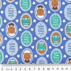 Tecido Tricoline Mista Pop Textoleen Baby Baby - Azul - 50% Algodão 50% Poliéster - Largura 1,38m