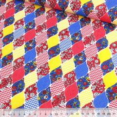 Tecido Tricoline Mista Pop Textoleen Balões Patch - Vermelho - 50% Algodão 50% Poliéster - Largura 1,38m