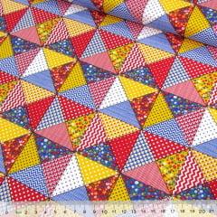 Tecido Tricoline Mista Pop Textoleen Bandeirinhas Patch - Vermelho - 50% Algodão 50% Poliéster - Largura 1,38m