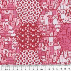Tecido Tricoline Mista Pop Textoleen Cães e Gatos - Rosa - 50% Algodão 50% Poliéster - Largura 1,38m